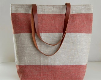 Red Wide Stripe Linen Tote Bag with Leather Handles - READY TO SHIP