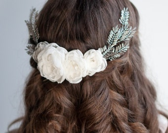 Bridal flower hair wreath, ivory fabric flower wedding hairpiece with silver wheat, wire wrapped beaded headband, unique vintage style comb