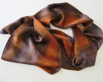 Brown Silk Scarf, Hand Painted Brown Silk Scarf, Brown Sienna Silk Scarf, Brown Scarf, Gift For Her
