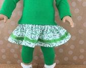St Patrick's Day Fits AG Dolls 3 Piece Set Shamrocks Clover Green and White Ruffled Skirt T Shirt Top Leggings Irish Ireland Saint's Day