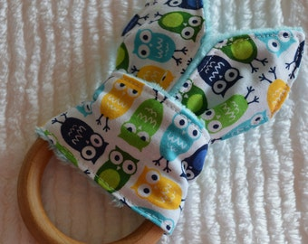 """OWL Natural Wood Teething Toy w/ cotton and minky """"Bunny Ears"""""""