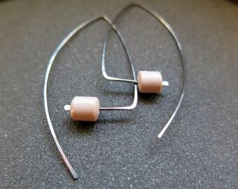 large hypoallergenic earrings. niobium jewelry. pink mookaite jewellery. splurge