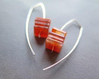 carnelian earrings in sterling silver. burnt orange jewelry. natural stone beads.