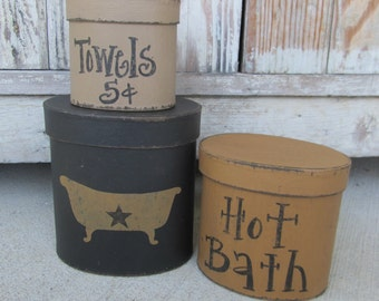 Primitive Hot Bath Claw foot Tub Hand Painted Set of 3 Oval Stacking Boxes GCC06351