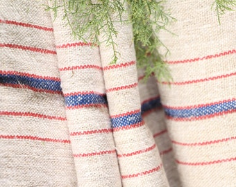 P 410 antique hemp linen roll french RED  and BLUE천 grainsack fabric 13.77yards wedding decor lin 22.05wide