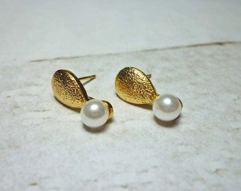 SALE - Gold Drop with Pearl Stud Earrings