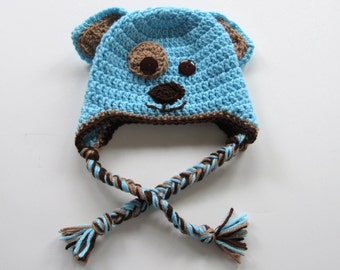 Ready To Ship - Crochet Puppy Hat - Crochet Dog Hat -Blue & Brown Puppy Earflap Baby Hat - Size 6 to 9 Months - Crochet- Puppy Dog Baby Hat