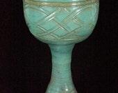 Green Celtic Goblet Handmade Pottery