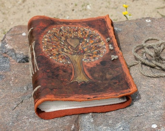 Wedding guest book Tree of Life with Heart leather journal bridal shower engagement