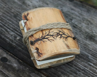 Rustic wood journal with two trees design