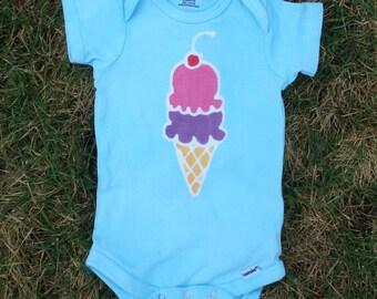 Ice Cream Cone Baby Onesie Batik tiedye onesie Baby Shower