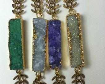 Druzy bracelet fish bone antique brass chain