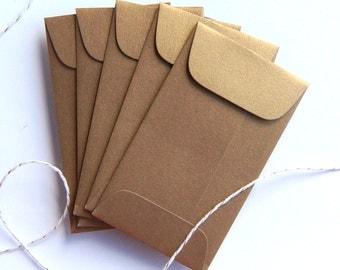 10 Metallic Antique Gold Mini Envelopes . 2.25 x 3.75 inches