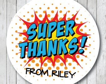Personalized Super Thanks . Super Hero Party Stickers, Labels or Tags