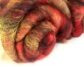Hand carded batts, Mohair, Alpaca, Extra fine Merino, Polwarth, Gold sparkles, spin, felt, dreads, colour ; Katherine of Aragon