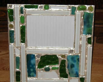 Blues and Greens Recycled Stained Glass Mosaic Picture Frame (holds a 5 x 7 photograph)