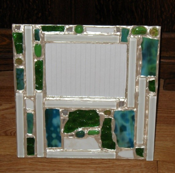 blues and greens recycled stained glass mosaic picture frame
