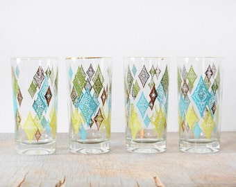 vintage atomic glasses, mid century diamond tumblers, 60s barware