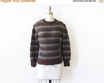 50% OFF SALE brown striped sweater, vintage 80s pointelle knit sweater, cozy medium pullover sweater