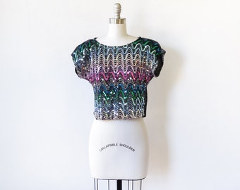 rainbow sequin top, sequin crop top, vintage 80s sequin shirt, small s