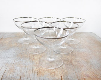 champagne glasses, silver rimmed glasses, six mid century cocktail glasses