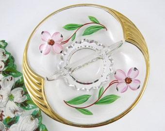 Vintage Divided Dish, Pink Dogwood Flowers, Gold Rim and Handles, Vanity Decor, Nut Candy Trinket Bowl, Cottage Chic Home Decor