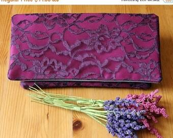 The AMELIA CLUTCH - Berry and Eggplant Clutch - Wedding Clutch Purse - Bridesmaid Bag - Lace Wedding Clutch, Pink and Purple Clutch