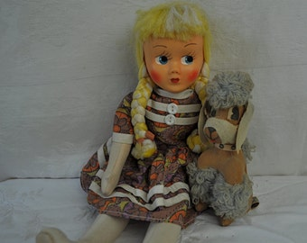 A Girl And Her Poodle/Vintage 1950s 1960s/Pair of Stuffed Cloth Dolls/Blonde With Braids And Coiffed Poodle