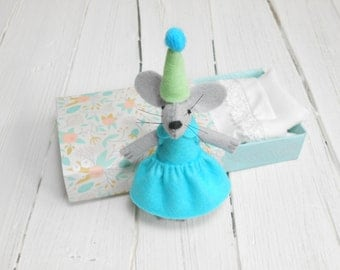 Newborn baby welcoming  stuffed animal mouse miniature realistic felt mouse stuffed felt mouse in a matchbox gift for kids aquamarine