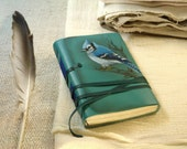 RESERVED for Cam - Blue Jay Turquoise leather journal, hand painted