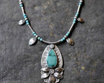 Sterling Turquoise Necklace, Oxidised Sterling Silver Statement Pendant, Gemstone Metalwork Necklace - Bellflower Necklace in Ribbon