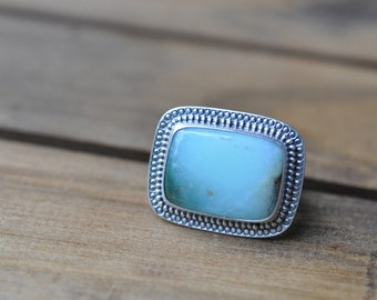 Sterling Silver Chrysophase Ring, Oxidised Metalwork Ring, Statement Gemstone Ring - Marrakech Ring in Chrysophase