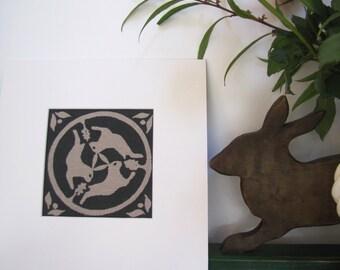 Celtic Hares (aka 'Tinner's Rabbits') Original Hand made Screen Print on Linen