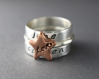 Custom Stack Rings Personalized Rings Love Rings Personalized Name Custom Rings Sterling Stack Rings Star Rings Stack Band Silver Ring