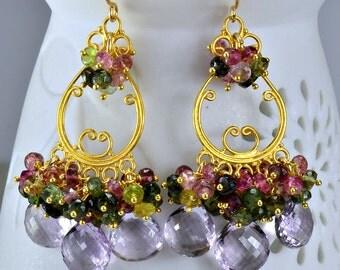 Pink Amethyst Watermelon Tourmaline Chandelier Earrings Multi Gemstone Cluster Earrings