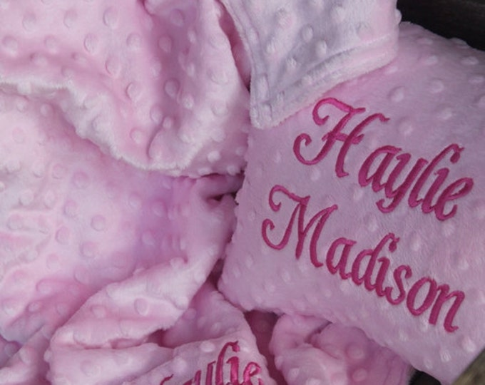 Soft Minky Chenille Personalized 30x36 Baby/Toddler Blanket 10x12 Toddler Pillow Set in Your Color Choice Mix and Match Colors Available