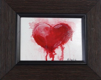 Original Heart Painting - Red Heart on White Background - Unique Valentine or Anniversary Gift