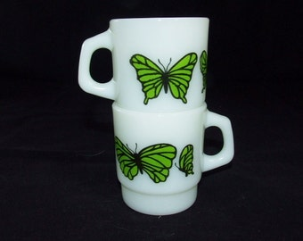 SALE   2 ANCHOR Hocking Milk Glass Green Butterfly Stacking Mugs 071516