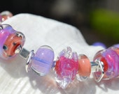 Reserve for Annie-TUTTI FRUTTI-Handmade Lampwork and Sterling Silver Bracelet