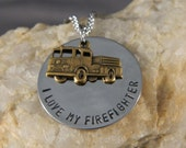 I love My Firefighter with Fire Engine Necklace