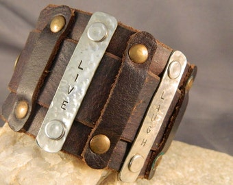 Inspirational Leather and Metal Cuff