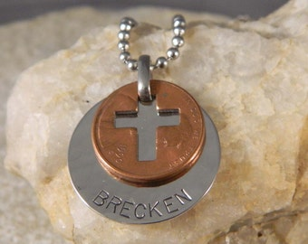 Personalized Penny Cross Necklace