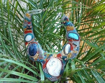 Multi-stone Beaded Collar Necklace