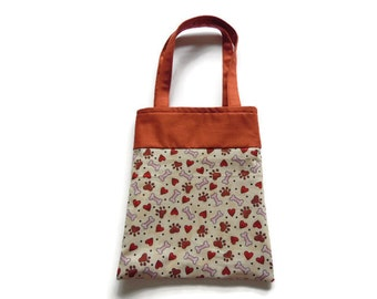 Fabric Dog Gift/Goodie Bags - Paw Prints