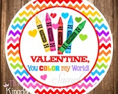Valentine Gift Tags or Stickers, INSTANT DOWNLOAD Valentine Tags,You color my world Printable Valentine Tags or Stickers
