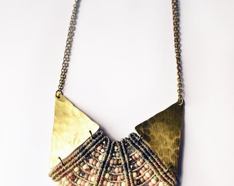 Woven Princess Necklace in Grays