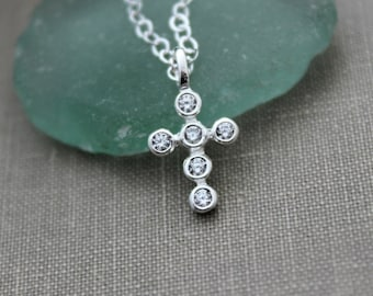 Sterling Silver Cubic Zirconia CZ Crystal Cross Charm Necklace  Religious Faith Necklace - Simple - Minimalist - Confirmation Gift Idea