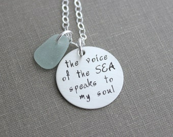 the voice of the sea speaks to my soul, inspirational quote necklace, hand stamped sterling silver jewelry, sea glass beach jewelry