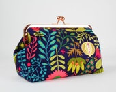Frame clutch purse - Summer garden on blue - Cosmetic purse / Japanese fabric / Floral pattern / Rose gold frame / Green teal pink yellow