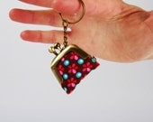 Keychain purse - Petit Pan Sioux brun - Lillipurse / Tiny keychain purse / One coin purse / French fabric / Neon pink turquoise flowers dots